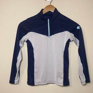 Descente Navy White 1/4 Zip Shirt Size 10 Youth